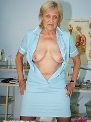 Brigita mature naughty nurse muff masturbation at gyno clinic with gyn tool and adult toy