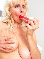 Horny blonde housewife playing with her dirty self
