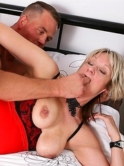 Horny British mature nympho fucking and sucking