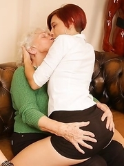 Three old and young lesbians making out