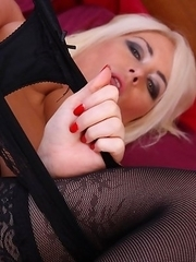 Naughty blonde housewife playing with herself